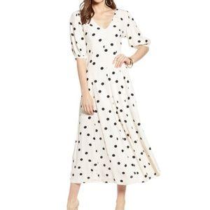 Something Navy Polka Dot V Neck Maxi Dress